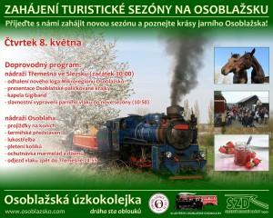 Leták Klub přátel osoblažské úzkokolejky - 8. květen